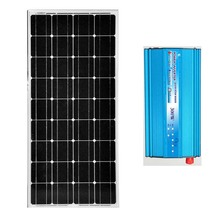 Solar Kit Solar Panel 12v 100W Monocrystalline Inverter 12v /220v Auto Pure Sine Wave Car Caravan Camp Phone Light Motorhome