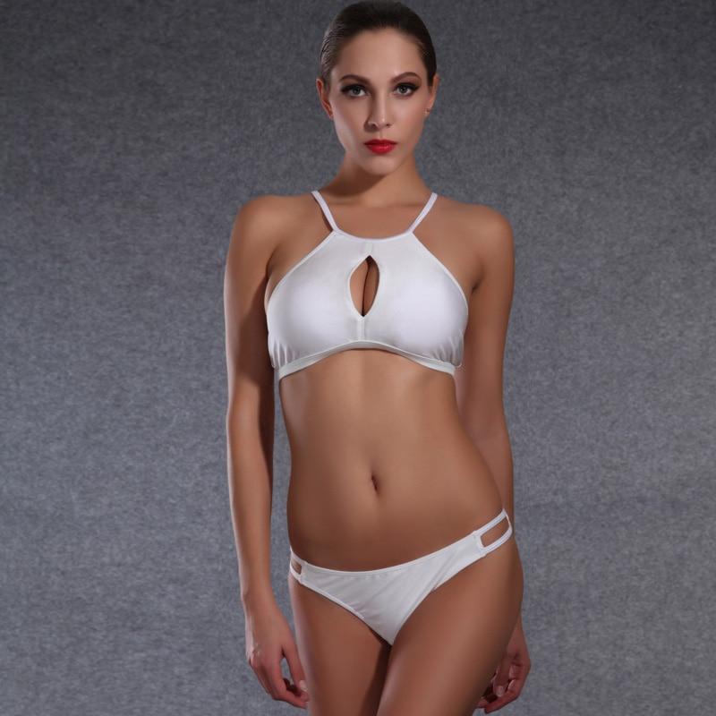 Sexy Hollow out bikini women swimsuit pure white high neck Bandage Low waist Brazilian bikini set Crop Tops Push Up Bra swimwear
