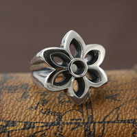 S925 pure silver ornaments personality male fashion Good Art ring cherry blossom finger ring width to send her boyfriend