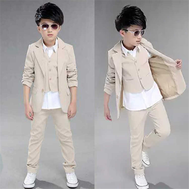 Kids Blazers Boys Suits 2018 New Autumn Single Breasted 3Pcs Coats + Vest + Pants for Boys Wedding Wear Children Clothing 3sb006 boys suit new spring autumn teen boys single breasted blazers casual wedding coat jacket children s top clothing kids clothes