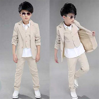 Kids Blazers Boys Suits 2018 New Autumn Single Breasted 3Pcs Coats + Vest + Pants for Boys Wedding Wear Children Clothing 3sb006