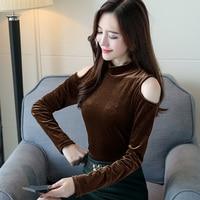 2017 New Fashion Women Shirts Turtleneck Full Sleeve Dew Shoulder T Entitlement Velvet Blouse Shirt Brown