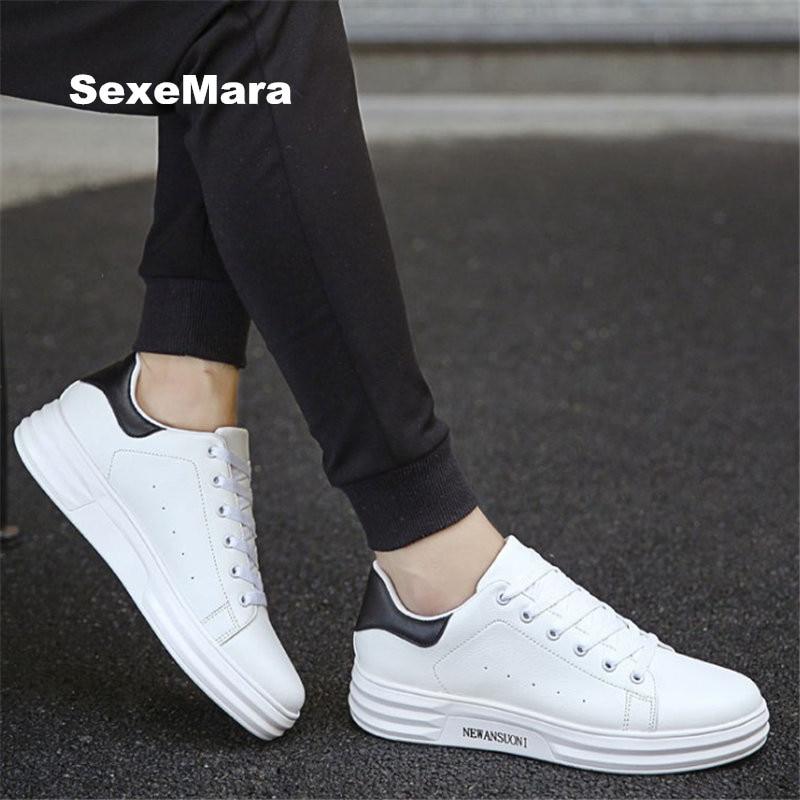 Pria sepatu putih PU Unisex Pasangan sepatu kasual Bernapas sepatu Fashion datar hitam putih zapatos mujer tenis feminino EU 39-44