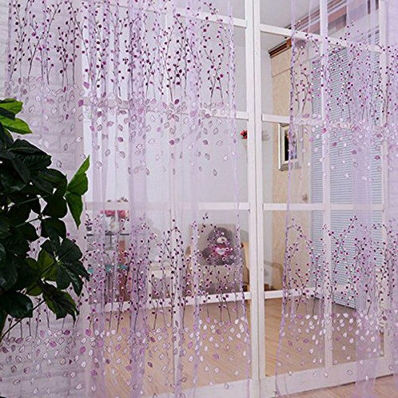 200 100cm Bay Window Voile Curtain Chic Room Wintersweet Flower Sheer Window Screening Curtain