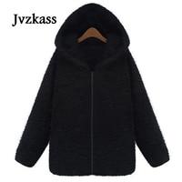 Jvzkass Autumn plus size velvet thick hooded sweater women autumn and winter loose long cardigan zipper lamb plush jacket Z51