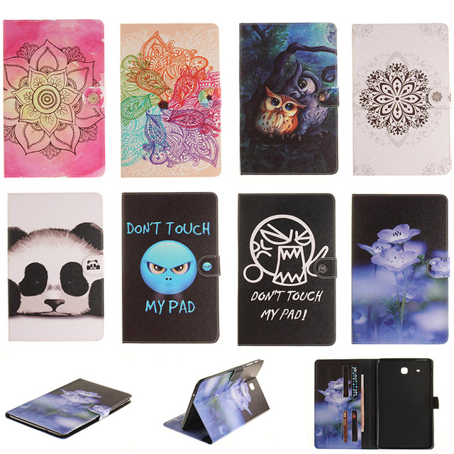 For Samsung Galaxy Tab E 9.6 T560 T561 SM-T560 Case Fashion Flower Panda Owl Style PU Leather Flip Wallet Tablet Back Cover Capa