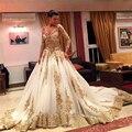 Arabia Árabe Cuello En V Apliques de Encaje de Oro Dubai Vestido de Novia 2017 Vestido de noiva sereia de Abalorios mangas Largas Vestidos de Novia