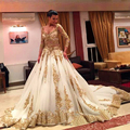 Saudi Arabic V Neck Golden Lace Appliques Dubai Wedding Dress 2017 Vestido de noiva sereia Beaded Long sleeves Bridal Gowns