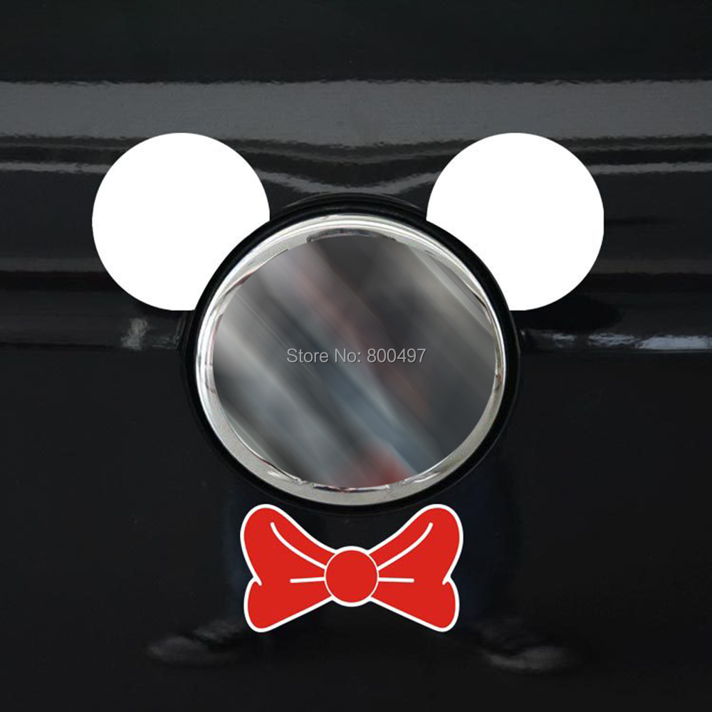 Newest Funny Mickey Ears Red Tie Stickers Car Decal for Toyota Ford Chevrolet Volkswagen Tesla Honda Hyundai Kia Lada Ford