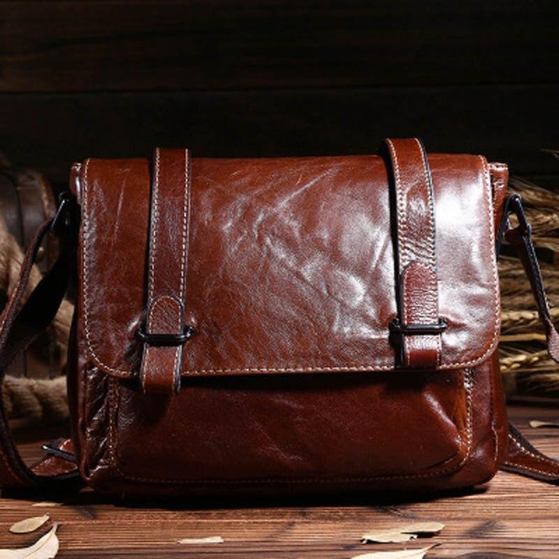 купить New Genuine Leather Men's Vintage Shoulder Bags Oil Wax Cowhide Leather Business Messenger Bags iPad Holder For Men LS0071 по цене 2977.61 рублей