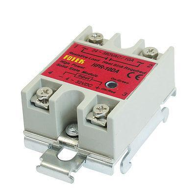 10Amps Temperature Control Solid State Relay + DIN Rail HPR-10DA normally open single phase solid state relay ssr mgr 1 d48120 120a control dc ac 24 480v