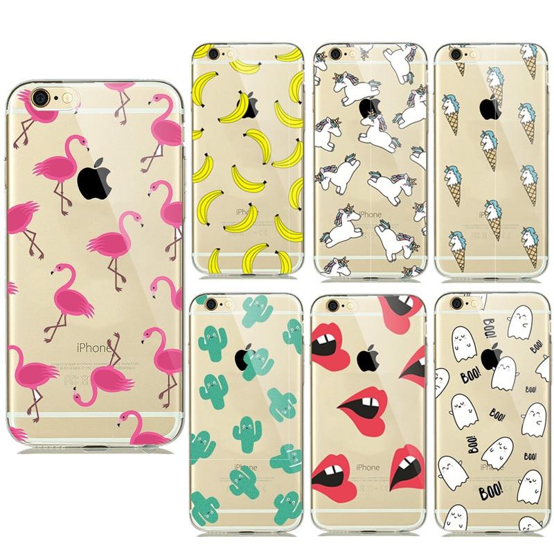 New Summer Fruit Banana Unicorn Transparent Silicone Soft TPU Cases for iPhone 7 Plus 6 6s 5 5S SE Cactus Flamingo Phone Covers