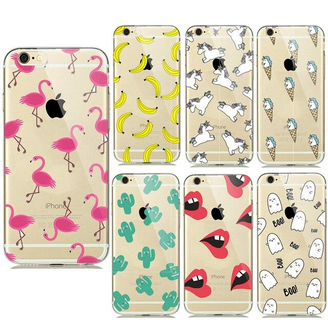 Nova Verão Frutas Banana Unicórnio Transparente Silicone Macio Casos TPU para iPhone 7 Plus 6 6 s 5 5S SE Cactus Flamingo Telefone cobre