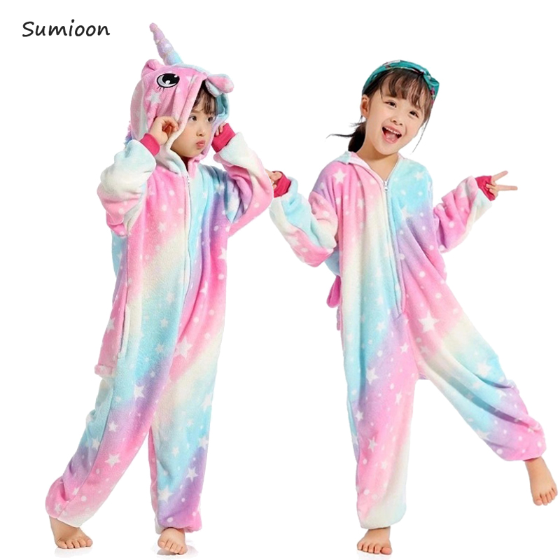 1cdc6d6d27 Kigurumi Unicorn Pajamas for Girls Boys Sleepwear Winter Warm Children Pajamas  Animal Panda Cosplay Licorne Onesie Kids Pyjamas -in Pajama Sets from  Mother ...