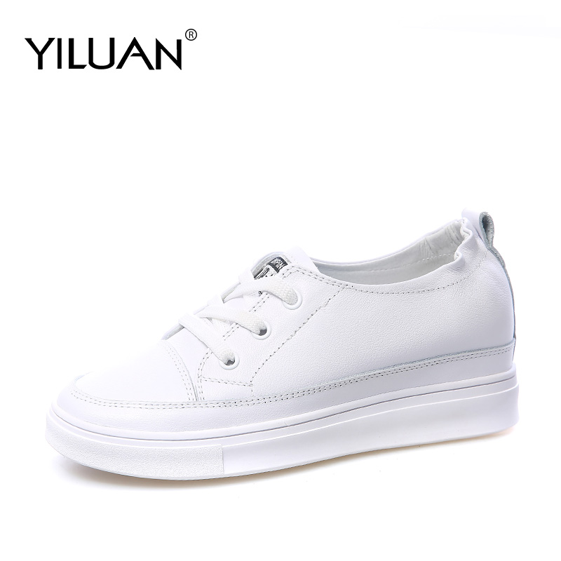 Yiluan Genuine Leather white Sneakers 2020 New Increase women casual Nurse shoes mesh woman Breathable Wild single shoes basic image