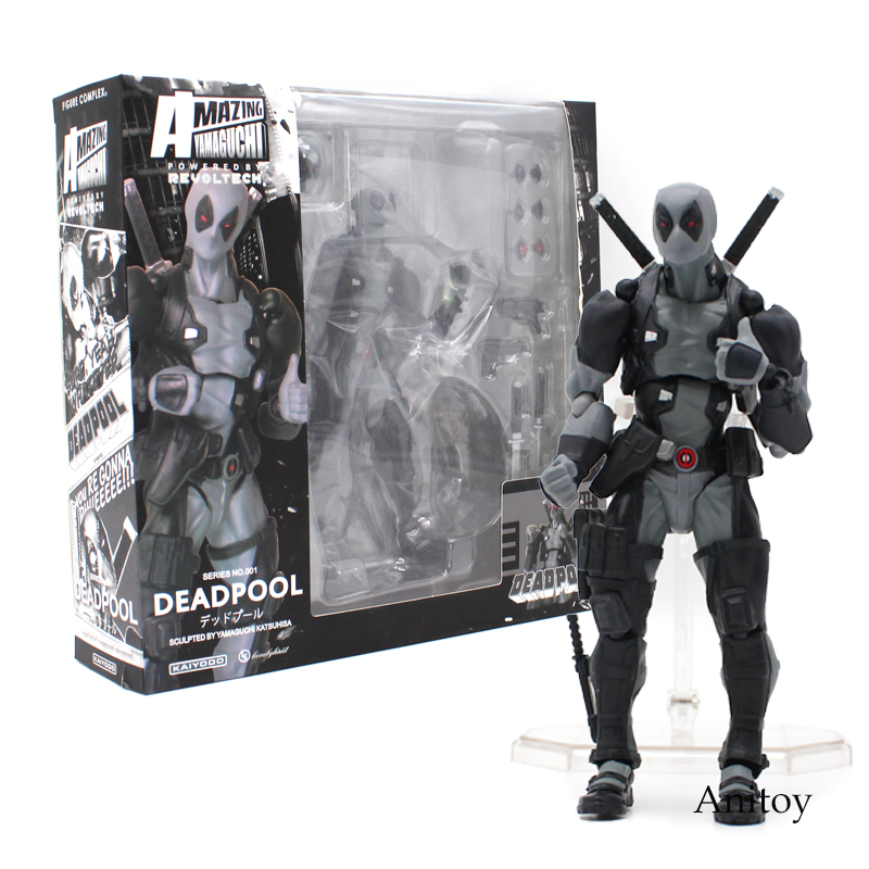 Revoltech Series NO.001 Deadpool Gray Color Ver. PVC Action Figure Collectible Model Toy 15cm series no 001 revoltech deadpool venom no 003 spider manno 002 004 iron man with bracket pvc action figure collectible model toy