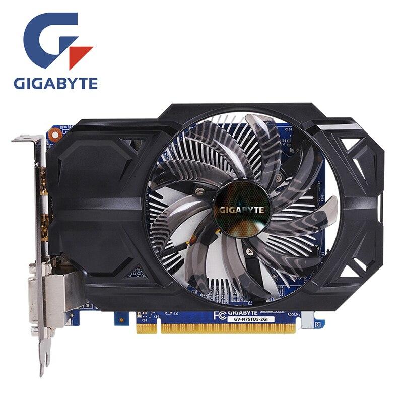 GIGABYTE GTX 750 2 GB D5 Carte Vidéo GTX 750TI GV-N75TD5-2GI 128Bit GDDR5 Cartes Graphiques pour nVIDIA Geforce GTX750 Hdmi Dvi utilisé
