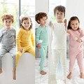100% Algodão Primavera Inverno Crianças Pijamas de Manga Longa Conjunto de Roupas Para Casa Pijama Cintura Alta Crianças Vestes Sleepwear Meninos Meninas o pescoço