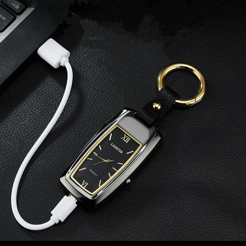 Multi functional Electronic Cigarette Lighter Keyring Clock Hanging Part Watch with Light Cigarette USB Charging Lighter briquet in Cigarette Accessories from Home Garden