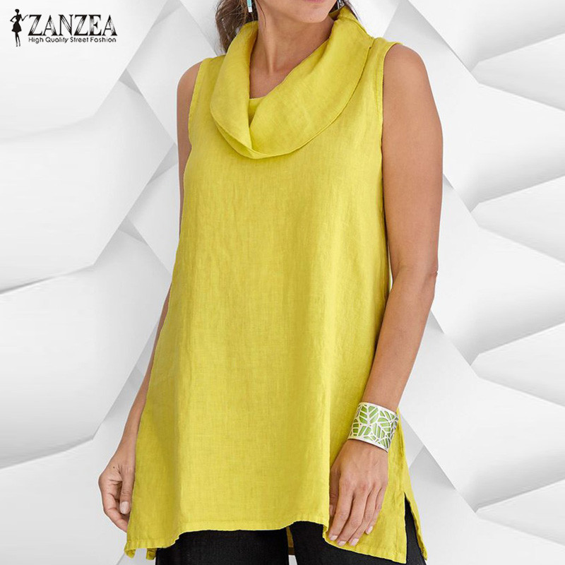 2019 ZANZEA Women Tanks Tops Vintage Sleeveless Cotton Linen Shirt Casual Cowl Neck Loose Blouse Femininas Split Blusa Plus Size