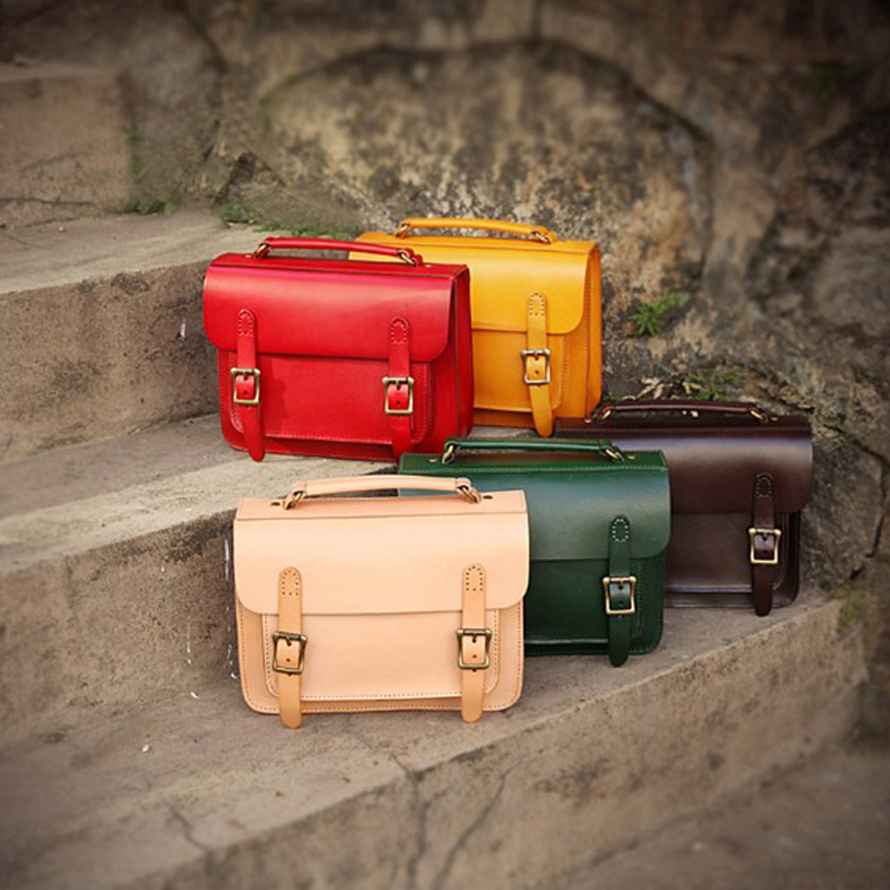 YIFANGZHE Womens Genuine Leather Satchel Bags, Classic and Vintage High Quality Leather Bags for Ladies /Girls Roomy iPad mini