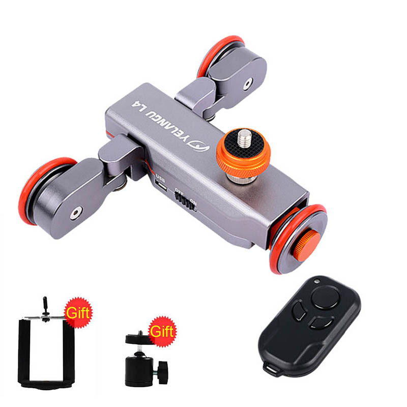 YELANGU Electric Dolly 3-Wheel Pulley Car Rail Rolling Track Slider With Manual Remote Control For iPhone DSLR Camera Camcorder flexible electric dolly 3 wheel pulley car rail rolling track slider skater dolly for dslr camera camcorder smart phone max 6kg