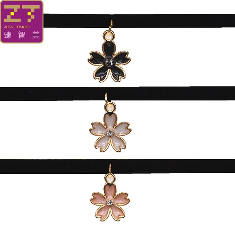 2018 Neue Ankunft Mode Blume Drehmomente Kragen Schwarz Colliers Halskette Samt Kirschblüten Anhänger Für Frauen Schmuck