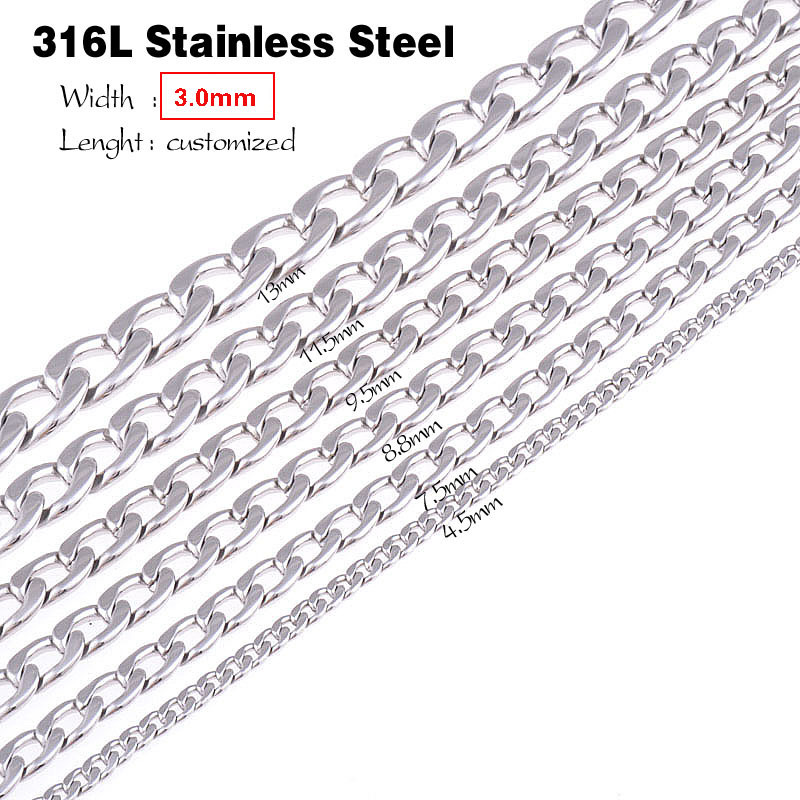 Width 1.6Mm//2Mm//2.4Mm//3Mm//4Mm//5Mm Stainless Steel Rolo Chain Link Necklace Chain 4mm Width 10 inches or 25cm