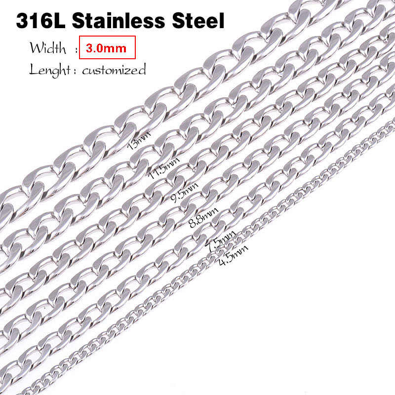 3.0mm(width) Statement stainless steel Cuban Chain men vintage long pendant necklace