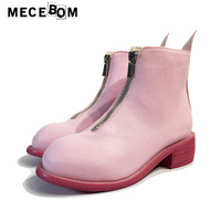 Women' pink boots fashion zip ankle boots women' personality shoes comfortable quality Microfiber upper size 35-39 1068w
