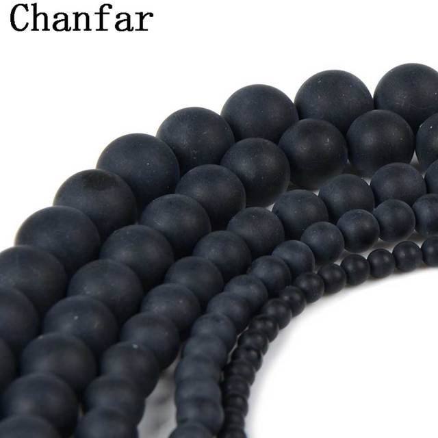 Chanfar Dull Polish Black Matte Beads Round Natural Stone Beads For Making DIY Jewelry 4 6 8 10 12mm Size