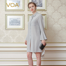 VOA Summer New 2017 Silk Crepy Lapel Shirt Female Light Grey Long Sleeve Occupation Blouse B6996 OL