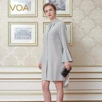 VOA Autumn New 2016 Silk Crepy Lapel Shirt Female Light Grey Long Sleeve Occupation Blouse B6996