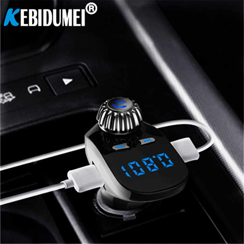 Mobil 3.1A Dual USB Bluetooth Mp3 Player Handsfree Fm Transmitter Penerima Audio Nirkabel Digital Tegangan Meter TF Kartu U- disk AUX