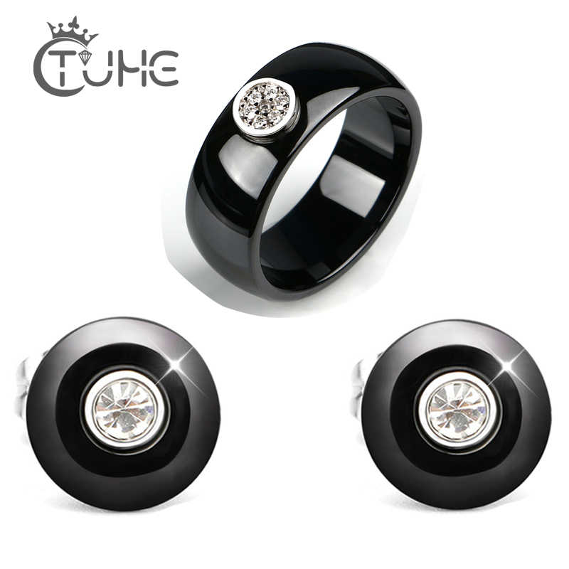Sparkling AAA Zircon Paved Wedding Jewelry Set for Women Black White Healthy Fashion Ceramic Rings Stud Earrings Christmas Gift