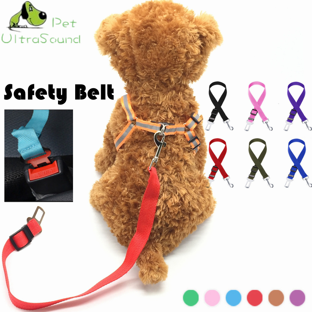 ULTRASOUND PET 6 Colors Pet Dog Car Safety Seat Belt Harness Adjustable Pet Puppy Pup Hound Vehicle Seatbelt Lead Leash For Dogs