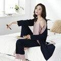 Moederschap Katoenen Pyjama 3 Sets Volledige Mouw Borstvoeding Nachtkleding Verpleging Pyjama voor Zwangere Vrouwen Postpartum Clothings