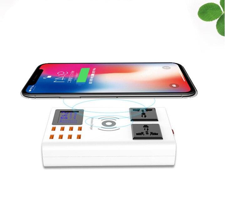Multi Port USB Chargeur 8A LED Numérique Affichage 2 Prise SECTEUR Prise 2500 Watt Station De Charge Pour Smartphone DV Mp3 adaptateur