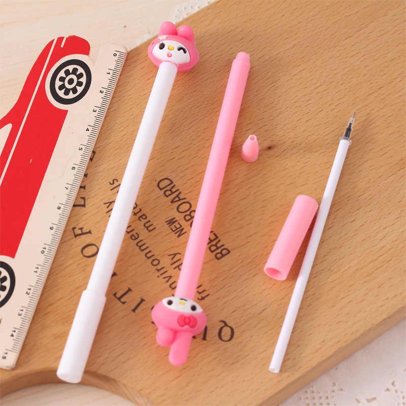 4ชิ้น/ล็อตเกาหลีเครื่องเขียนการ์ตูนสาวการเรียนรู้ปากกาเจล0.38มิลลิเมตรสีดำปากกาMelodyกระต่ายซิลิโคนอ่อนนุ่มปากกา