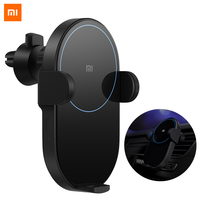 100% Original Xiaomi Wireless Car Charger 20W Max Electric Auto Pinch 2.5D Glass Ring Lit For Mi 9 (20W) MIX 2S / 3 (10W) Qi