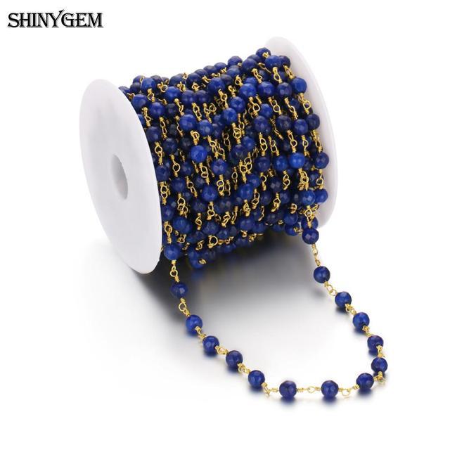 ShinyGem 6mm okrągła kula korale do tworzenia biżuterii naturalne kryształ/agat Jade złota Plated Rhinestone różaniec łańcuch 5 m/partia