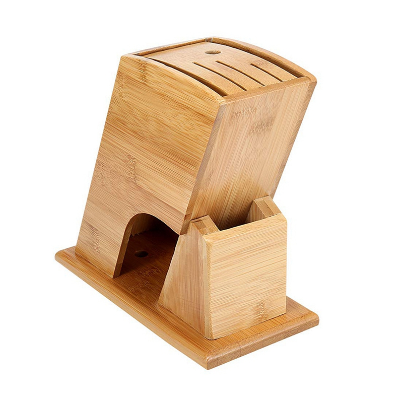 Bamboo Knife Storage Block Without Knives Knife Storage Organizer And Holder Racks & Holders     - title=