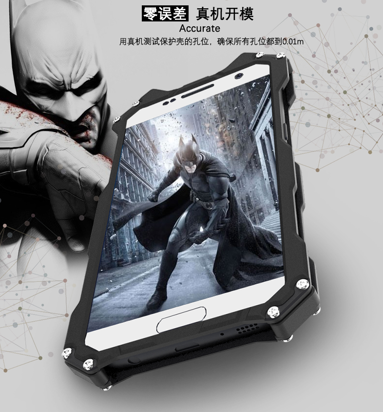 new style 5e87d 49d88 US $17.19 30% OFF|R Just Armor King Iron Man Batman Steel Metal Shockproof  Flip Case For Samsung Galaxy S6 Edge Plus Cool Metal Aluminum Case-in ...