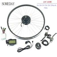 언젠가 24 v 250 w ebike 변환 키트 후면 회전 기어 허브 모터 휠 lcd3 디스플레이 전기 자전거 키트