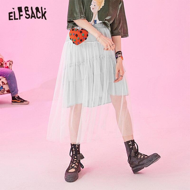ELF SACK 2019 Summer New Mesh Women Pleated Skirts Fashion Sweet Solid Glitter Woman Skirt Natural