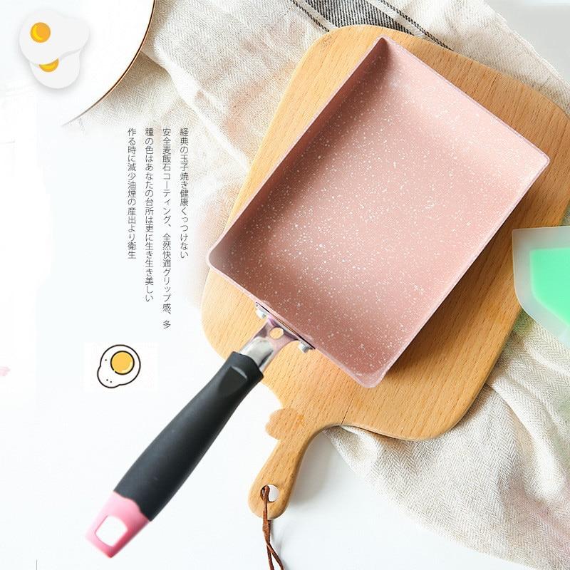 Pink Frying Pan Tamagoyaki Japanese Medical Stone Aluminum Alloy Pan Maker Non-stick Fry Egg Pan Pancake Pot Pink Cookware