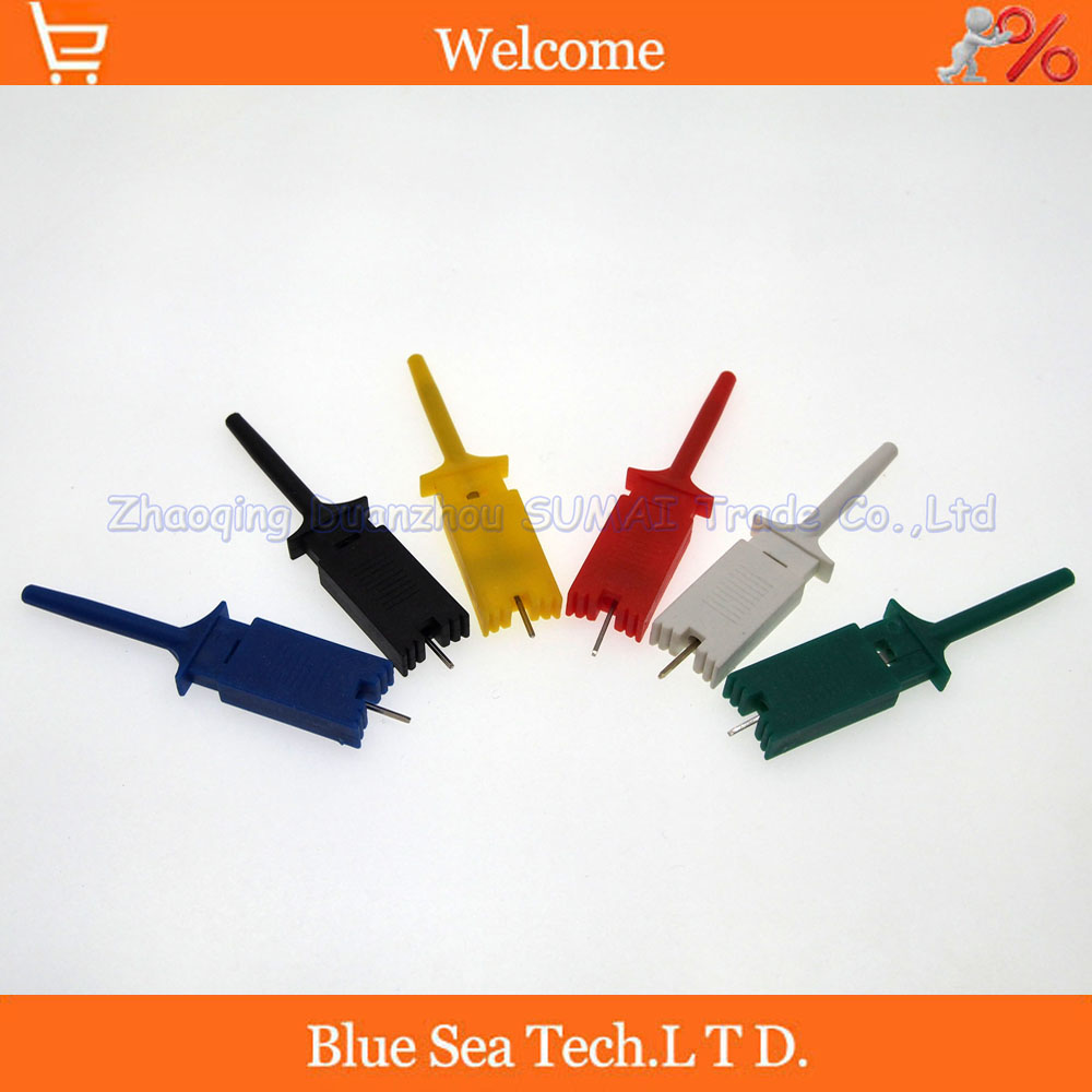 Test hook clip,Grabber SMD IC Test Probe Hook for Multimeter,Logic analyzer test clips with Pin,Color Mix or choose 10 pcs multimeter test probe cable single hook clip grabber yellow