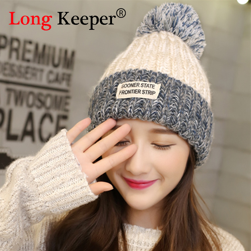 Long Keeper Top Quality New Fashion Lady Skullies Beanies Knit Winter Hat Cap With Fur Pom pom Ball Women Wool Knitted Fur Hats the new children s cubs hat qiu dong with cartoon animals knitting wool cap and pile