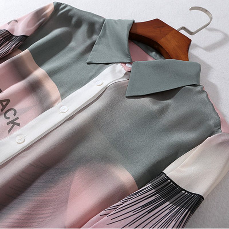 Turn Plus Décontracté Blouse Abstraite Multi Taille Flare 100 Conception down 2018 Imprimé Soie La Long Chemise Style Manches Mode Col Femmes Nouveau f60xw