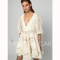 2018 Summer high quality Lace embroidery Style Dress Women's Sexy V Neck Embroidery High End Custom Made Dress